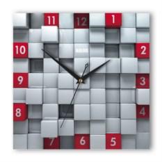 Настенные часы Кубы красные