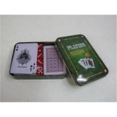 Набор из 2-х колод пластиковых карт с кубиками в коробке