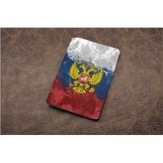 Кожаная обложка для паспорта (белый, Герб РФ)