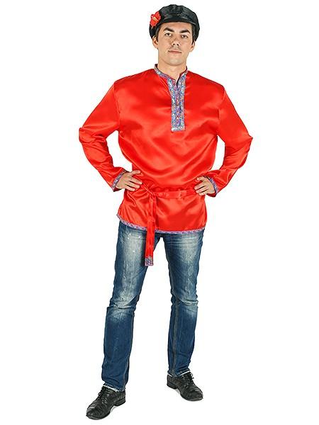 Атласная красная косоворотка