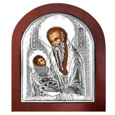 Икона в серебряном окладе Стилиан Пафлагонянин Святой