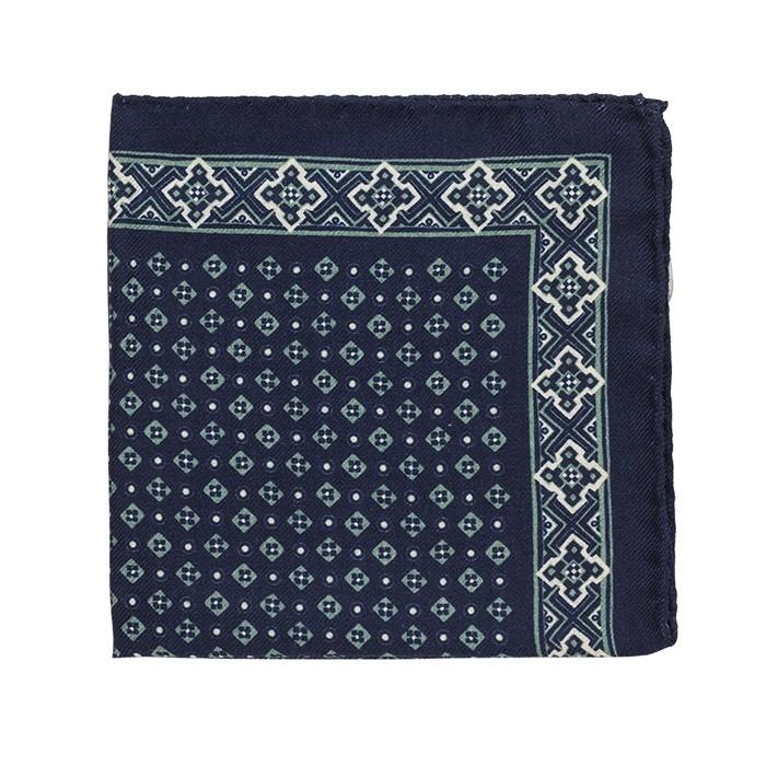 Платок Roda из шерсти, с геометрическим узором, темно-синий