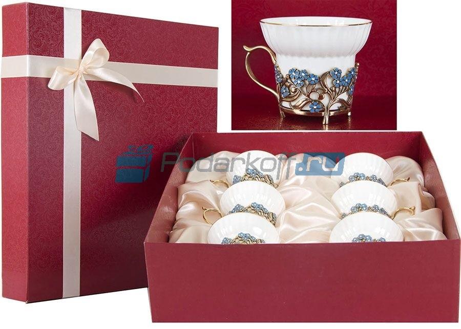 Чайный набор из 6 фарфоровых чашек Лазурь