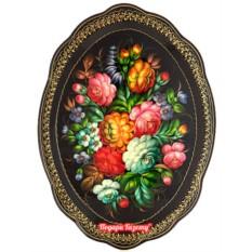 Поднос Жостово с художественной росписью Букет, овальный