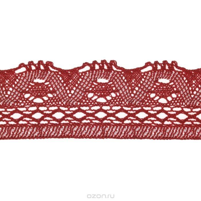 Вязаная тесьма Schaefer, ажурная, красная (5 м х 8 см)