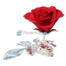 Композиция Красная роза на ветке с посеребрением