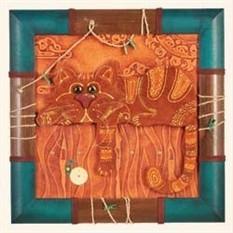 Декоративное панно из натуральной кожи с рыжим котом