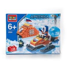 Пластмассовая игрушка-конструктор Полярник на снегоходе