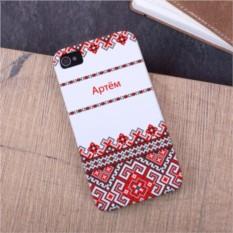 Именной чехол для iPhone Славянская вышивка