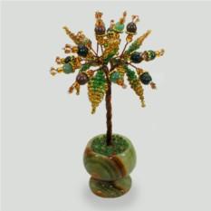 Миниатюрное дерево счастья из яшмы в вазочке из оникса