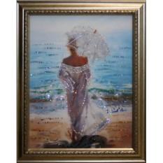 Картина с кристаллами Swarowski Влюбленная в море