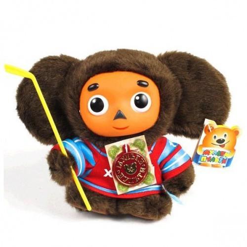 Мягкая озвученная игрушка Чебурашка-хоккеист