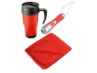 Набор: плед флисовый Термокружка, фонарик в рюкзаке