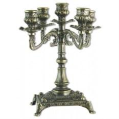Латунный канделябр на 5 свечей, размер 24x20x20 см
