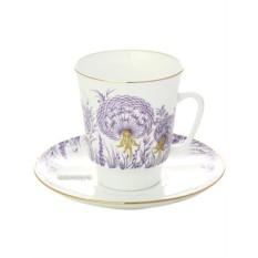 Фарфоровая чайная чашка с блюдцем Одуванчики