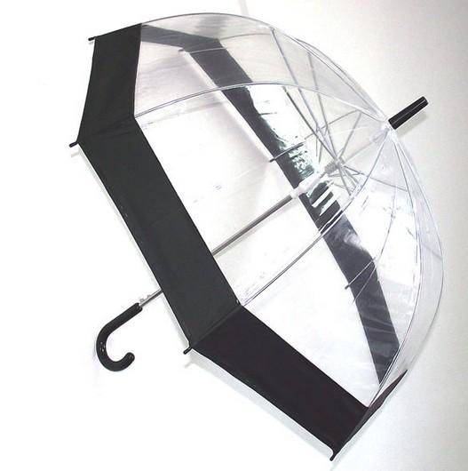 Черный прозрачный зонт-купол
