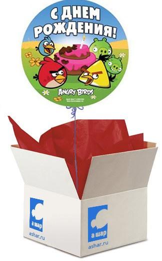 Шар в коробке Angry Birds. С днём рождения!