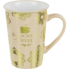 Золотистая кружка Delicious coffee, объем 400 мл.