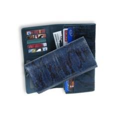 Синее портмоне из кожи питона с отделением на молнии