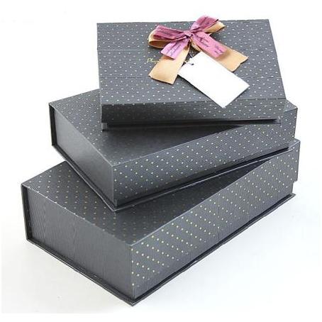 Набор коробок 3 в 1, серые с бантом