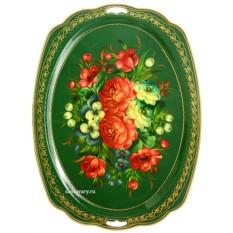 Поднос с художественной росписью Пионы на зеленом фоне