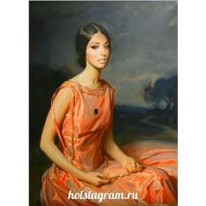 Печать портрета по фото на холсте для нее
