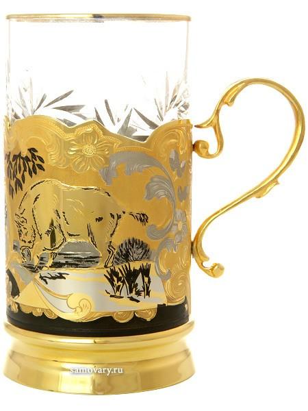 Чайный хрустальный набор с позолотой Кабаны