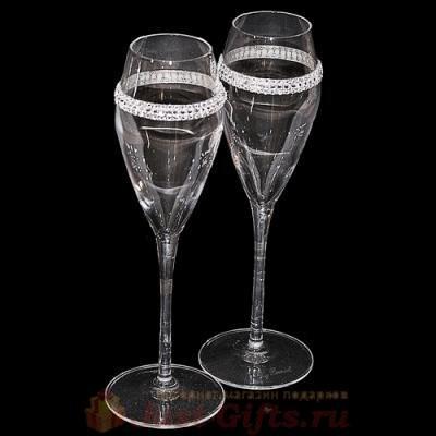 Бокалы для шампанского с кристаллами