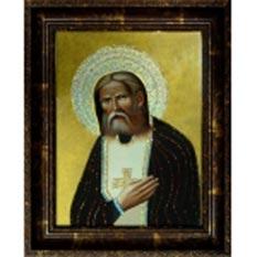 Икона св. Серафима Саровского с кристаллами