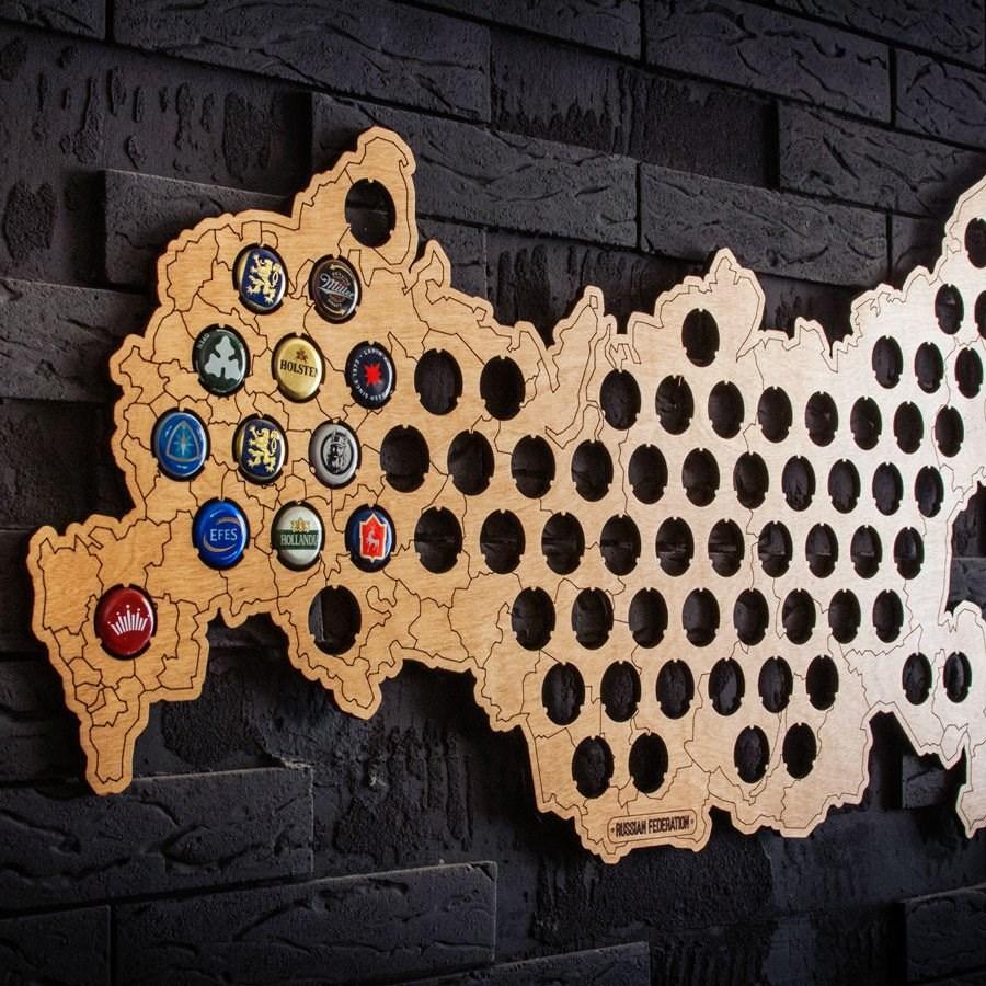 Подарочная копилка для пивных крышек Карта России
