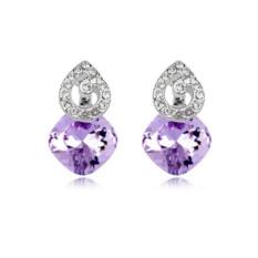 Серьги с фиолетовыми кристаллами Сваровски «Мелодия»