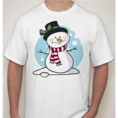 Мужская новогодняя футболка Снеговик