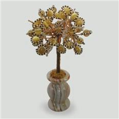 Дерево из кошачьего глаза Верность в вазочке из оникса