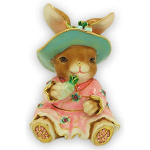 Шкатулка со стразами «Кролик в шляпе»