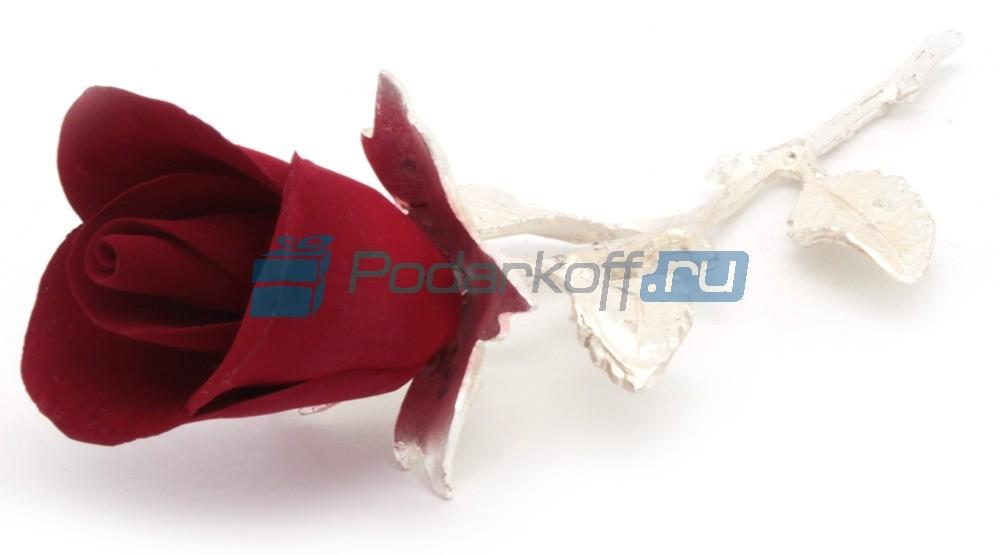 Роза из фарфора на ветке с посеребрением (малая)