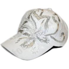 Белая бейсболка Хрустальный цветок