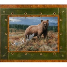 Картина из кожи Медведь и лес