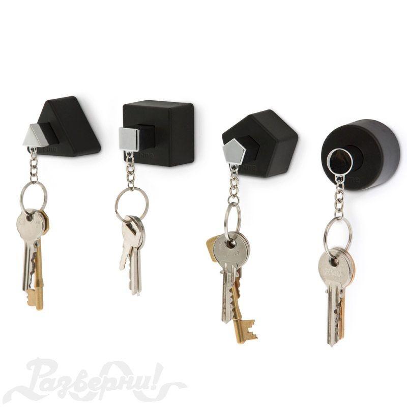 Черные настенные держатели для ключей с брелоками Shapes
