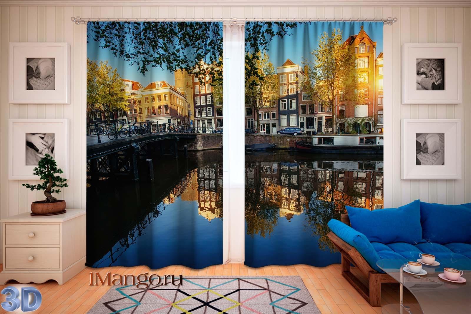 Фотошторы Красивый закат в Амстердаме