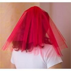 Фата для девичника (цвет — красный)