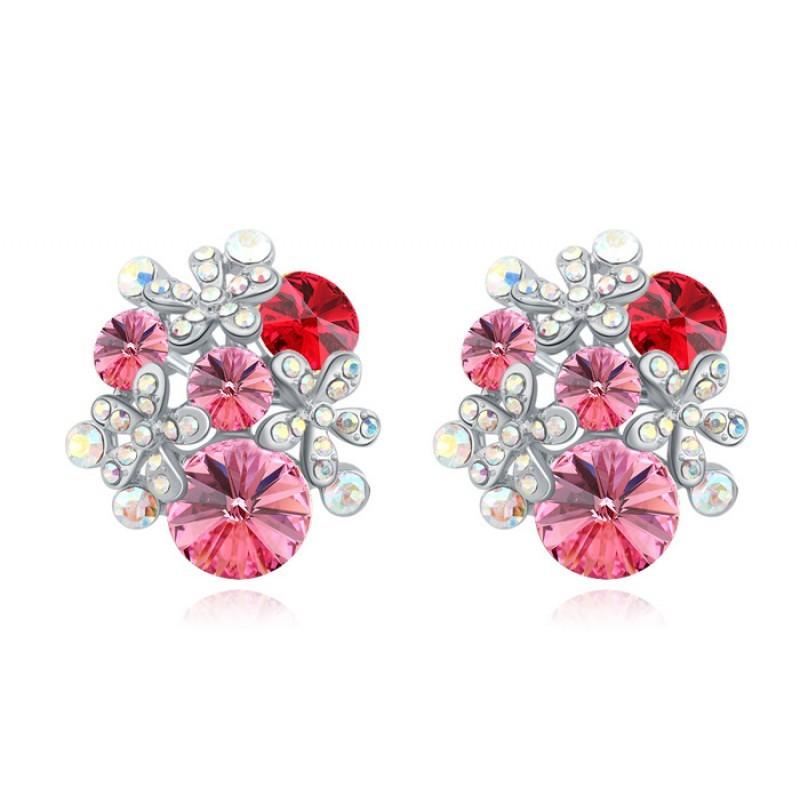 Серьги «Букеты» с розовыми камнями Сваровски