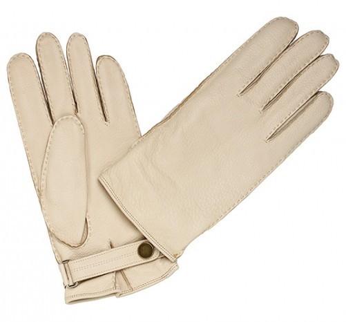 Белые с кнопкой перчатки Merola из кожи оленя
