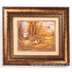 Большое панно-гравюра Охота на фазана