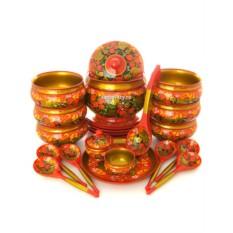 Набор для супа Клубника на красном фоне из 22 предметов