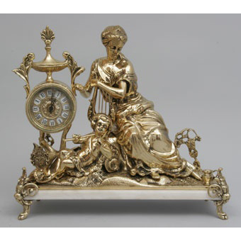 Часы-фигура из бронзы Virtus «Дама с арфой»