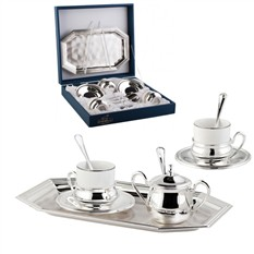 Набор для кофе Элегантная классика на 2 персоны, серебро
