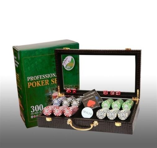 Покер в кожаном кейсе, 300 фишек
