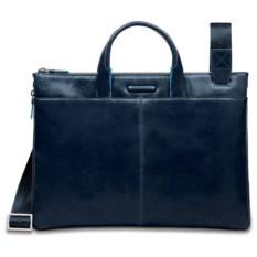 Кожаная тонкая темно-синяя сумка Piquadro Blue Square