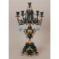 Пара канделябров из бронзы на 6 свечей, цвет синий с золотом