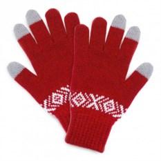 Красные сенсорные перчатки с узором